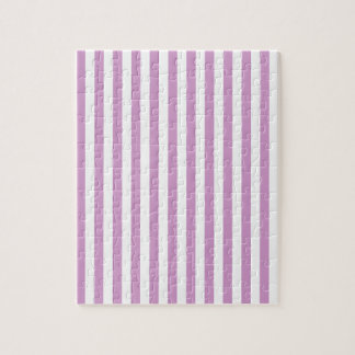 Thin Stripes - White and Light Medium Orchid Jigsaw Puzzle