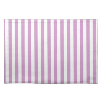 Thin Stripes - White and Light Medium Orchid Placemat