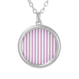 Thin Stripes - White and Light Medium Orchid Silver Plated Necklace