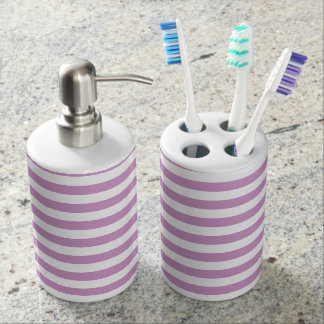 Thin Stripes - White and Light Medium Orchid Soap Dispenser And Toothbrush Holder