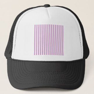 Thin Stripes - White and Light Medium Orchid Trucker Hat