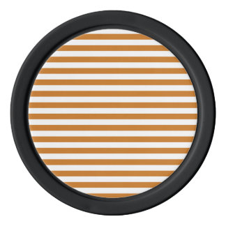 Thin Stripes - White and Ochre Poker Chips