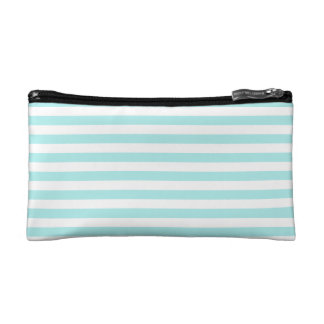 Thin Stripes - White and Pale Blue Cosmetic Bags