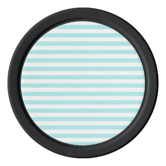 Thin Stripes - White and Pale Blue Poker Chips