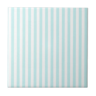 Thin Stripes - White and Pale Blue Tiles