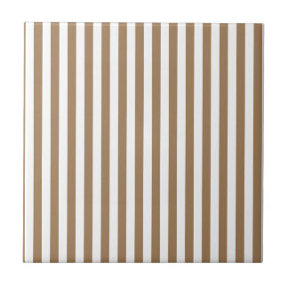 Thin Stripes - White and Pale Brown Ceramic Tile