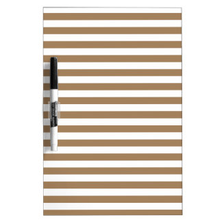 Thin Stripes - White and Pale Brown Dry-Erase Whiteboard