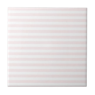 Thin Stripes - White and Pale Pink Ceramic Tile