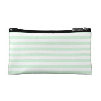 Thin Stripes - White and Pastel Green Makeup Bag