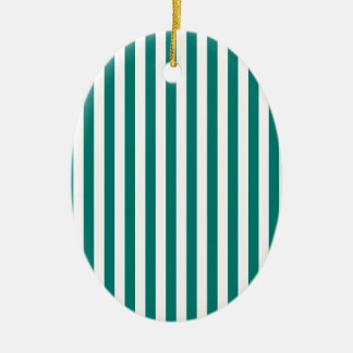 Thin Stripes - White and Pine Green Ceramic Oval Ornament
