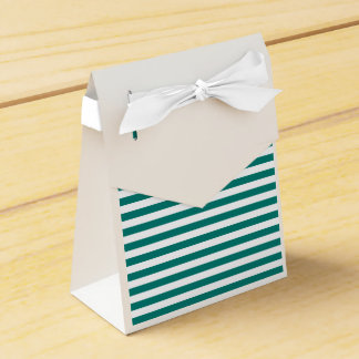Thin Stripes - White and Pine Green Favor Boxes