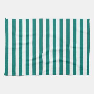 Thin Stripes - White and Pine Green Kitchen Towel