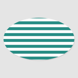 Thin Stripes - White and Pine Green Oval Sticker