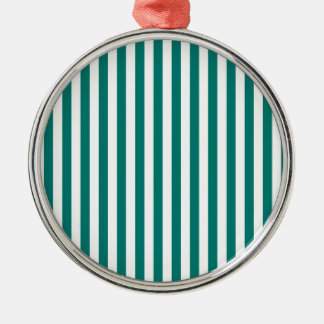 Thin Stripes - White and Pine Green Silver-Colored Round Ornament