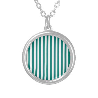 Thin Stripes - White and Pine Green Silver Plated Necklace