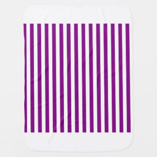 Thin Stripes - White and Purple Baby Blanket