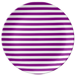 Thin Stripes - White and Purple Porcelain Plate