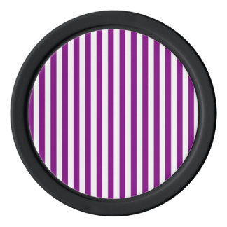 Thin Stripes - White and Purple Set Of Poker Chips