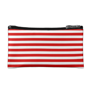 Thin Stripes - White and Rosso Corsa Cosmetic Bags