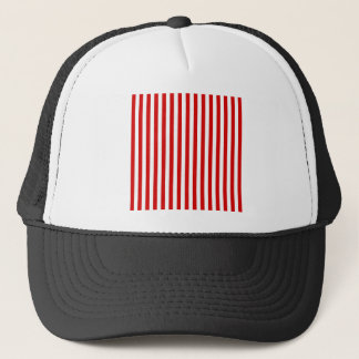 Thin Stripes - White and Rosso Corsa Trucker Hat