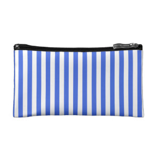 Thin Stripes - White and Royal Blue Cosmetic Bag