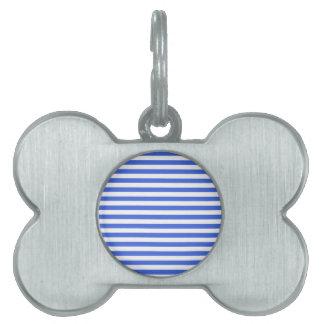 Thin Stripes - White and Royal Blue Pet ID Tag