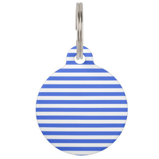 Thin Stripes - White and Royal Blue Pet Tag