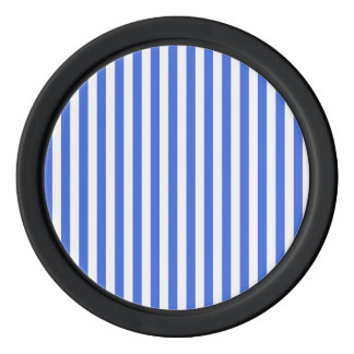 Thin Stripes - White and Royal Blue Set Of Poker Chips