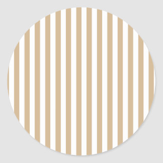 Thin Stripes - White and Tan Classic Round Sticker
