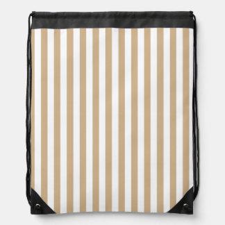 Thin Stripes - White and Tan Drawstring Bag