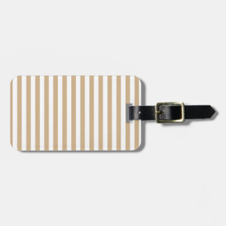 Thin Stripes - White and Tan Luggage Tag