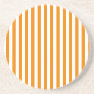 Thin Stripes - White and Tangerine Coasters
