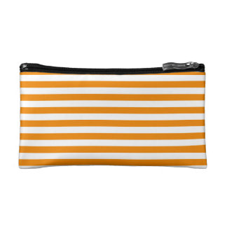 Thin Stripes - White and Tangerine Cosmetic Bag