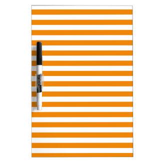 Thin Stripes - White and Tangerine Dry Erase Whiteboards