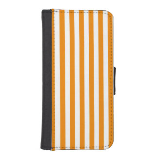 Thin Stripes - White and Tangerine iPhone SE/5/5s Wallet Case