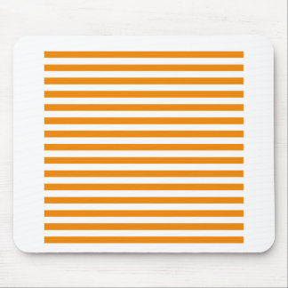 Thin Stripes - White and Tangerine Mouse Pad
