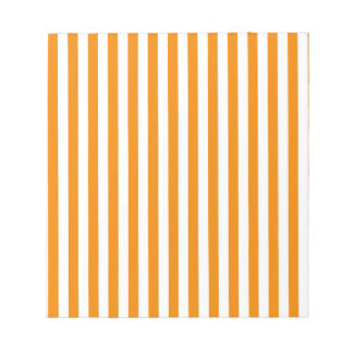 Thin Stripes - White and Tangerine Notepad