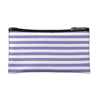 Thin Stripes - White and Ube Cosmetic Bag