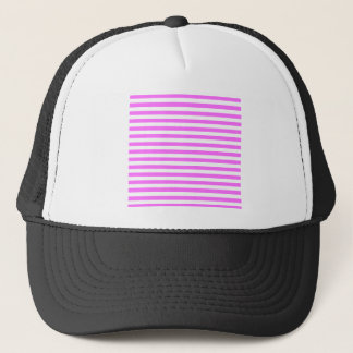 Thin Stripes - White and Ultra Pink Trucker Hat