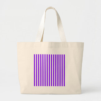 Thin Stripes - White and Violet Large Tote Bag