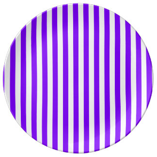 Thin Stripes - White and Violet Porcelain Plates