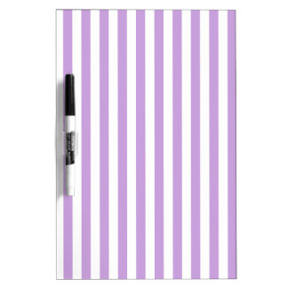 Thin Stripes - White and Wisteria Dry-Erase Whiteboard