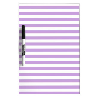 Thin Stripes - White and Wisteria Dry Erase Whiteboard