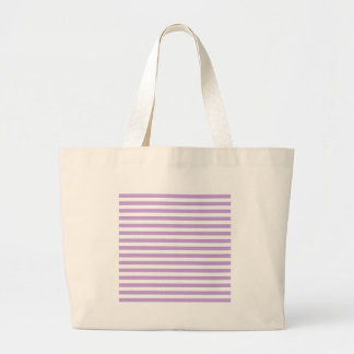 Thin Stripes - White and Wisteria Large Tote Bag