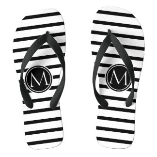 Thin Strips Pattern and Monogram Flip Flops
