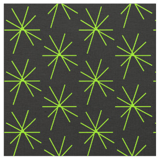 Thin Ten Arm Line Green Stars Fabric
