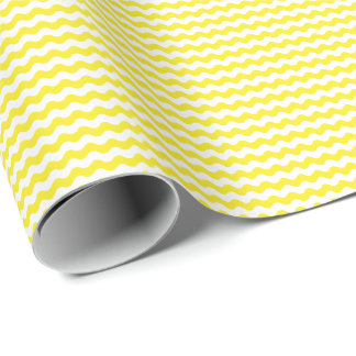 Thin Yellow and White Waves Wrapping Paper