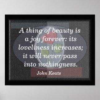 Thing of beauty - John Keats --art print
