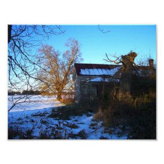 Things Past - Snow Scene, Wilson County NC Photographic Print