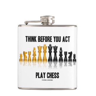 Think Before You Act Play Chess Reflective Chess Hip Flask